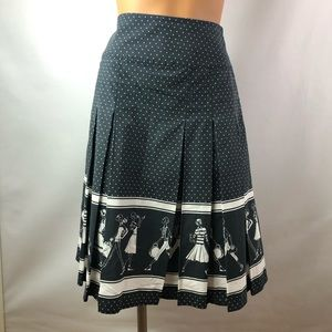 Liz Claiborne navy polka dot pleated skirt Sz 10